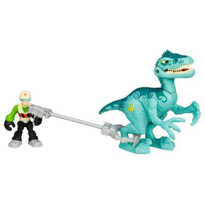 Figura-Jurassic-World---Dinossauro-Velociraptor-e-Cacador---Playskool-Heroes---Hasbro-1