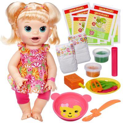 2253f3385a Boneca Baby Alive - Comilona - Loira + Kit Refil de Comidinha com 8 - Hasbro  - PBKIDS