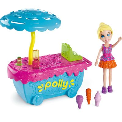 Playset-Polly-Pocket-Parque-de-Diversoes---Banquinha-de-Sorvete---Mattel