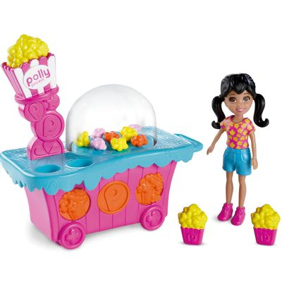 Playset-Polly-Pocket-Parque-de-Diversoes---Banquinha-de-Pipoca---Mattel