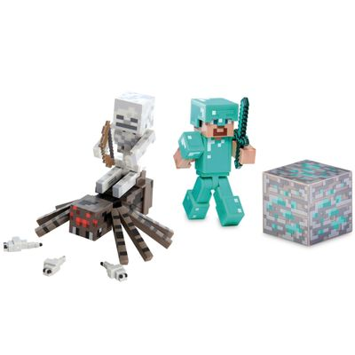 100115045-Kit-Bonecos-Minecraft-com-Acessorios-Diamond-Steve-e-Spider-Jockey-Multikids
