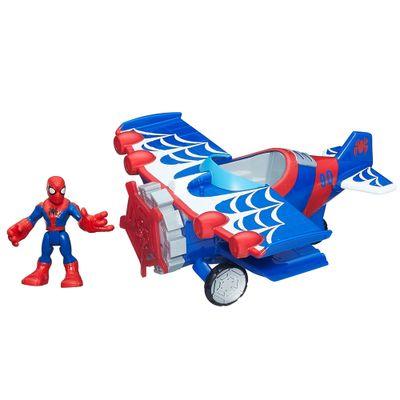 Boneco-com-Veiculo-Estilizado---Marvel-Super-Hero---Aviao-Aranha---Hasbro