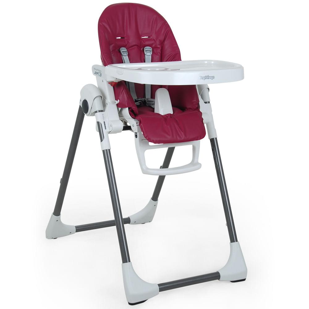 Cadeira de Refeição com 2 Bandejas e Encosto Reclinável - Prima Pappa - Framboesa - Peg-Pérego