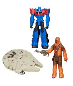 100121769-Kit-Personagens-Favoritos---Figuras-Articuladas-30-Cm---Chewbacca---Millenium-Falcon-e-Optimus-Prime---Hasbro
