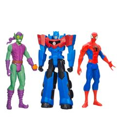 100121771-Kit-Personagens-Favoritos---Figuras-Articuladas-30-Cm---Titan-Hero-Spider-Man---Duende-Verde-e-Optimus-Prime---Hasbro