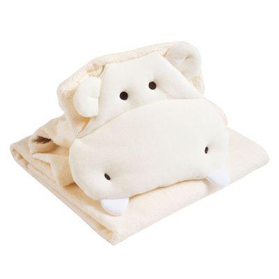 Toalha-Com-Bordado---Hipopotamo---Bege---Belmar