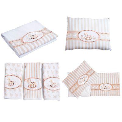 Kit-de-Lencois-Travesseiro-Paninhos-de-Boca-e-Manta---Cavalinho---Bege---Colibri