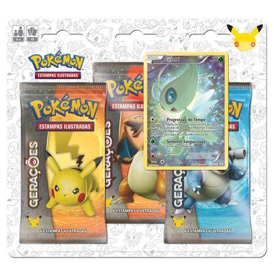 Deck-Pokemon---Blister-com-3-Unidades---Pokemon-Geracoes---Celebi---Copag