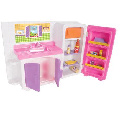Playset-para-Bonecas---Conjunto-Cozinha-Cristal-com-Geladeira-e-Pia---Lua-de-Cristal