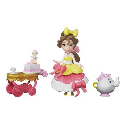 Mini-Boneca-com-Acessorios---Disney-Princesas---Little-Kingdom---Bela-com-Carrinho-de-Cha---Hasbro