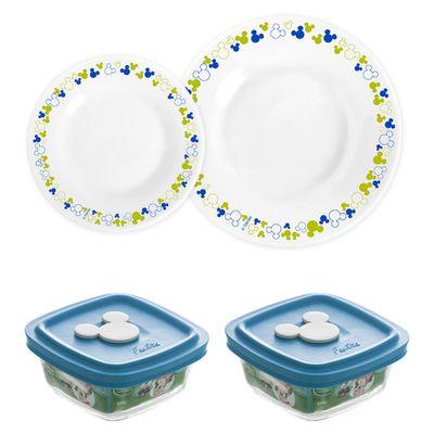 Conjunto-de-Pratos-e-Potes-Azul---300-ml---04-Pecas---Disney-Baby---Nadir-Figueiredo