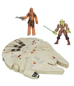 Kit-2-Bonecos---Veiculo---Star-Wars---Kit-Fisto-Hero-Mashers-de-15-cm-Chewbacca-Articulado-de-30-cm-e-Millenium-Falcon-de-25-cm---Hasbro