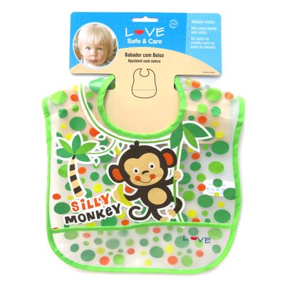 Babador-com-Bolso-e-Ajustavel-em-Velcro---Silly-Monkey---LOVE