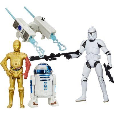 Kit-Figura-Colecionavel-Clone-Troper-e-Boneco-Articulado-R2D2-e-C3PO-com-Acessorios---Star-Wars---VII---Hasbro