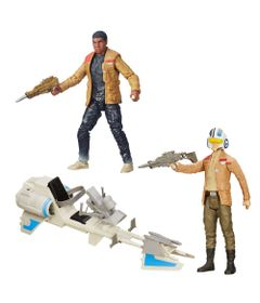 Kit-Figura-Colecionavel-Finn-Jaku-e-Boneco-Articulado-com-Veiculo-Poe-Dameron---Star-Wars-VII---Hasbro