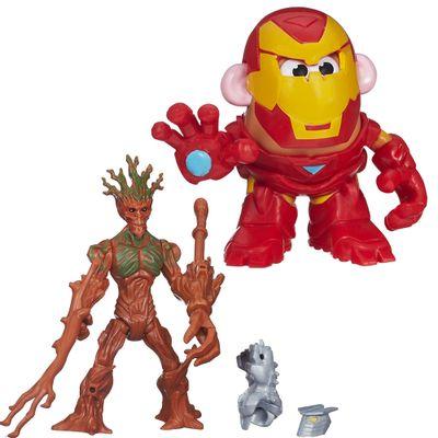 Kit-Boneco-Transformavel-15-cm-Groot-e-Mini-Figura-Mr.-Potato-Head---Iron-Man---Marvel---Hasbro
