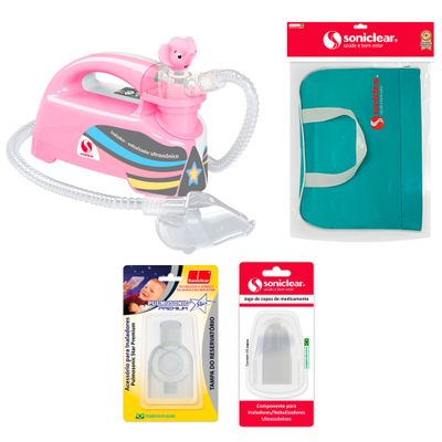 Kit-com-Bolsa-de-Transporte-e-Inalador-Nebulizador-Ultrassonico-Star-Premium-Rosa-com-Acessorios---Soniclear