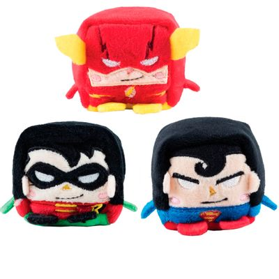 Conjunto-com-3-Pelucias---Cubomania-5-cm---DC-Comics---Liga-da-Justica---Superman---The-Flash-e-Robin---Candide