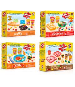 Conjunto-Super-Massa---Massa-de-Modelar---Moldes-Waffles-e-Hamburger-Pizza-e-Piquenique---Estrela