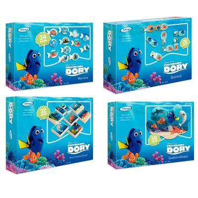 Conjunto-com-4-Jogos---Disney-Procurando-Dory---2-Quebra-Cabecas-Jogo-da-Memoria-e-Domino---Xalingo