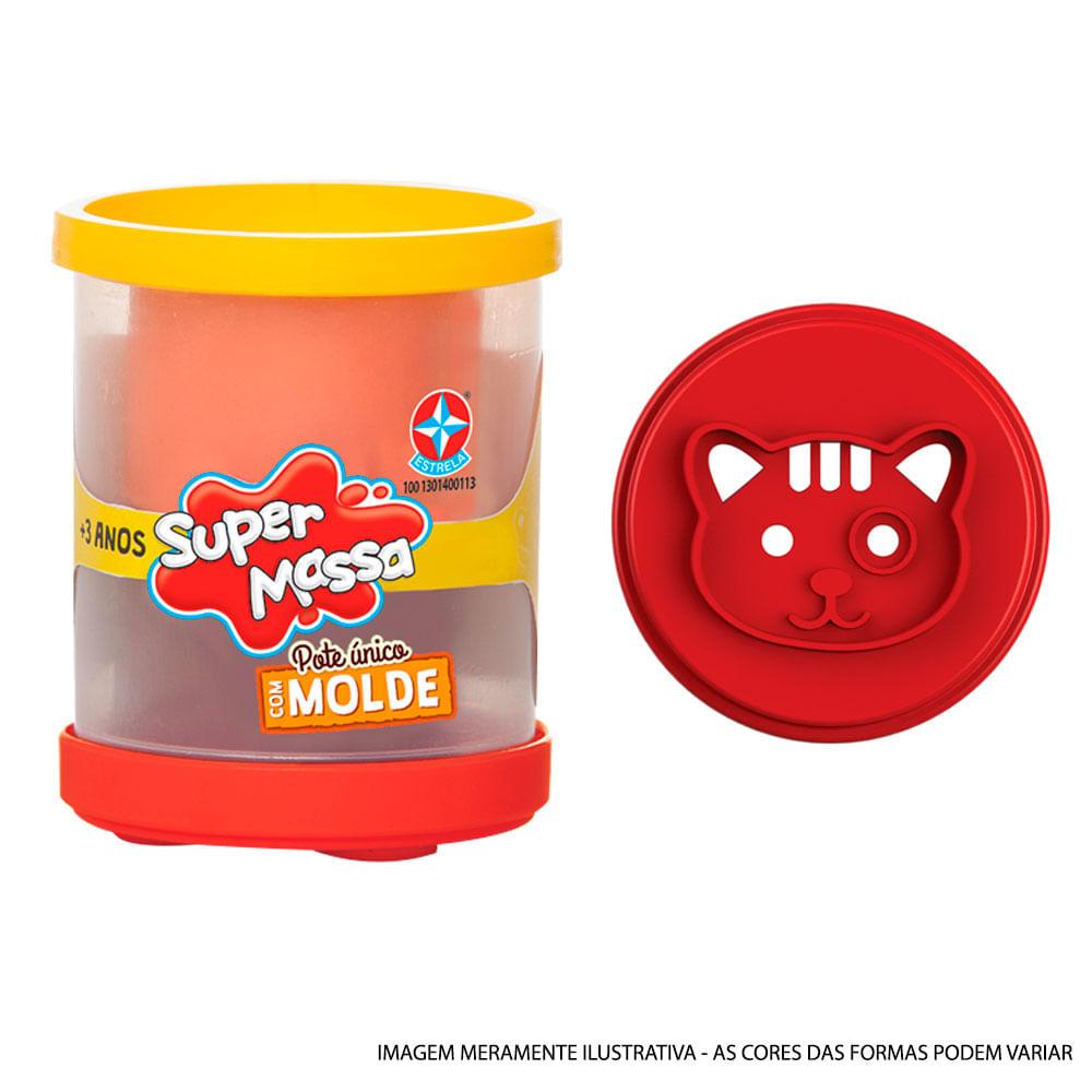 Massa de Modelar - Super Massa - Pote Unitário Duas Cores com Molde - Gato - Estrela