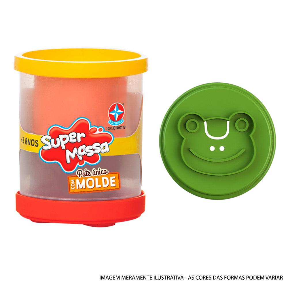 Massa de Modelar - Super Massa - Pote Unitário Duas Cores com Molde - Sapo - Estrela