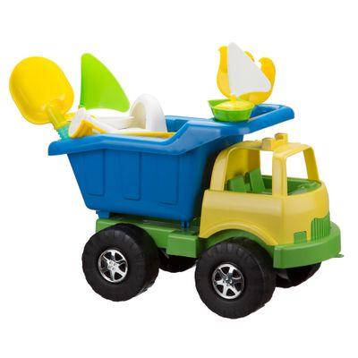 Carrinho-de-Praia---Super-Truck-com-Acessorios---Amarelo-e-Azul