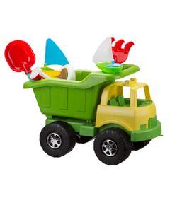 Carrinho-de-Praia---Super-Truck-com-Acessorios---Verde-e-Amarelo
