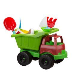 Carrinho-de-Praia---Super-Truck-com-Acessorios---Verde-e-Vermelho