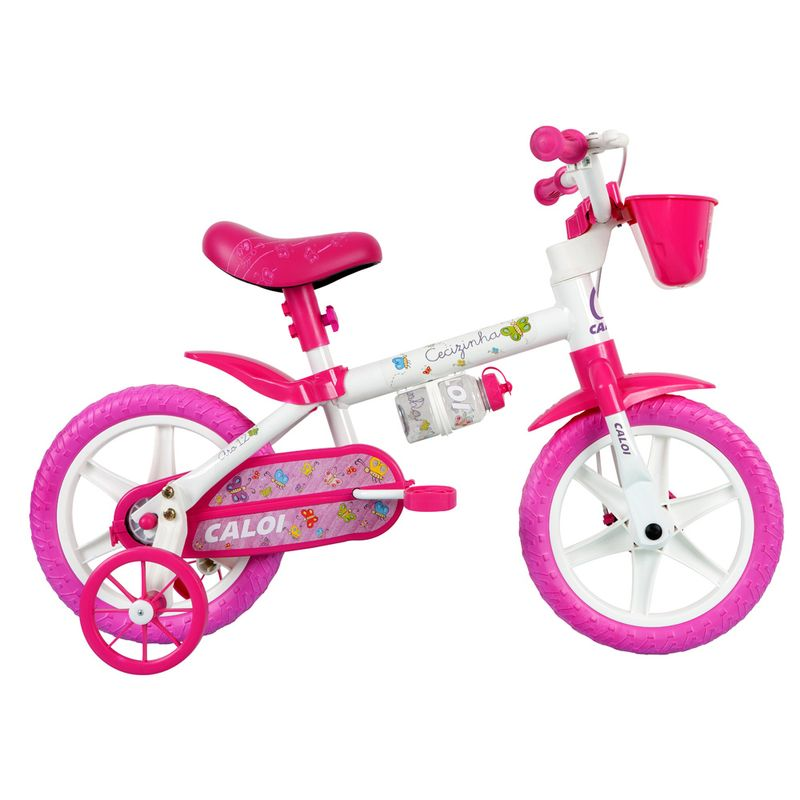 d7b1da06c Bicicleta ARO 12 - Cecizinha - Rosa e Branca - Caloi - PBKIDS