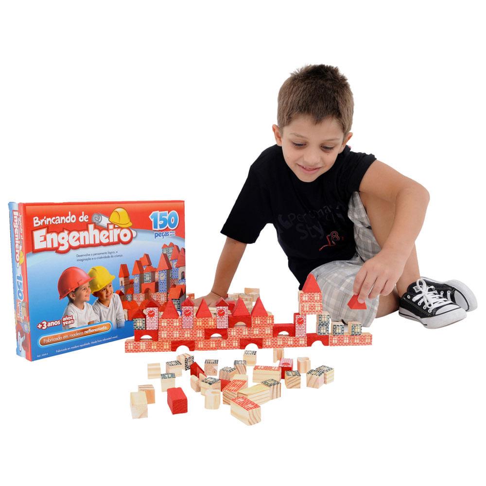 Blocos de Montar - Brincando de Engenheiro - 150 Peças - Xalingo