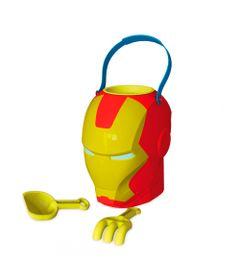 Conjunto-de-Praia---Balde-com-Acessorios---Marvel-Avengers---Homem-de-Ferro---Xalingo