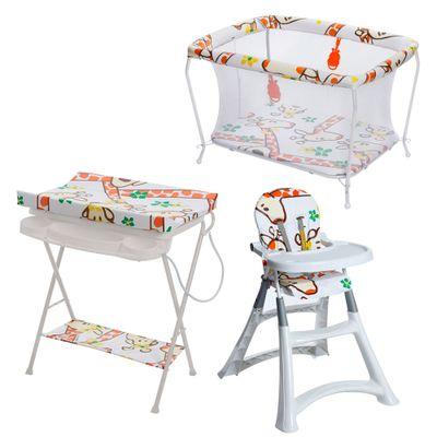 Conjunto-Cadeira-Alta-Banheira-com-Trocador-e-Cercado---Girafas---Galzerano