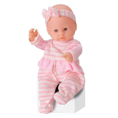 Boneca---Micro-Bebe-Mania---Pequenas-Amigas---Macacao-Rosa-Listrado---Roma-Jensen-5351-frente