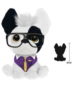 Pelucia-Perfumada---Trend-Dog---G---20-cm---Branco-Roupinha-Roxa---Fun