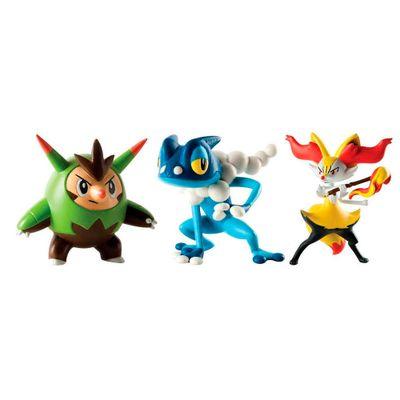 Mini-Figuras-Pokemon---3-unidades---Quilladin-Braixen-Frogadier---Tomy