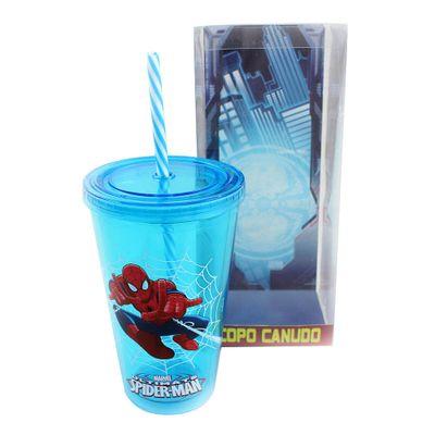 Copo-com-Canudo---500-ml---Marvel---Ultimate-Spider-Man---Azul---Zona-Criativa-10020458-frente1