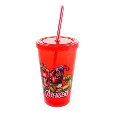 Copo-com-Canudo---500-ml---Marvel---Avengers---Vermelho---Zona-Criativa-10020459-frente