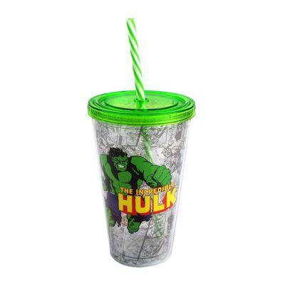 Copo-com-Canudo---500-ml---Marvel---The-Incredible-Hulk---Verde---Zona-Criativa-10020460-frente