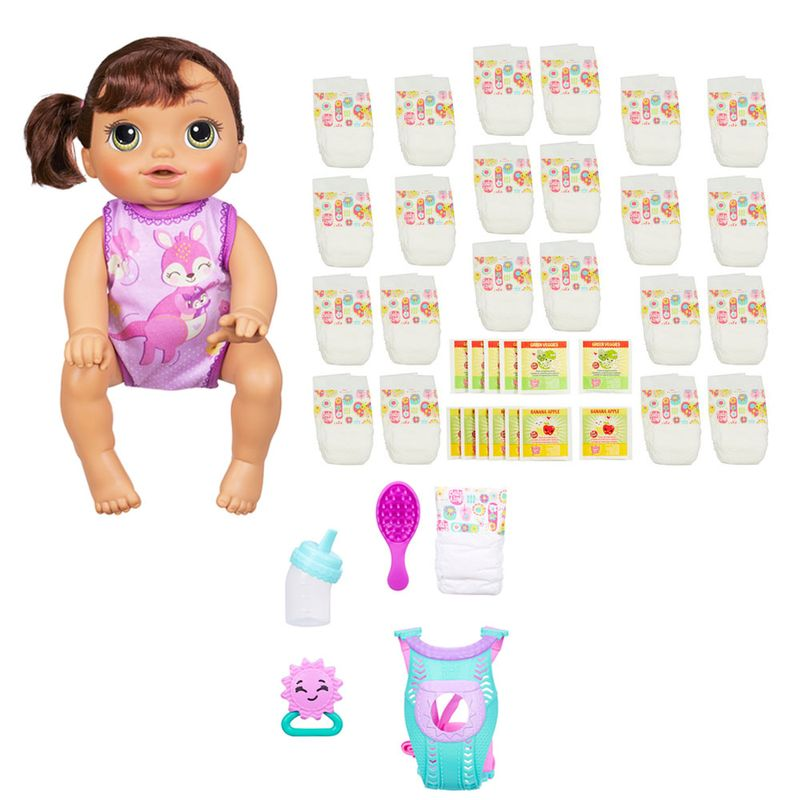 12e1e43a09 Kit Baby Alive - Boneca Hora do Passeio - Morena + Refil de Fralda e  Comidinha - Hasbro - Ri Happy Brinquedos