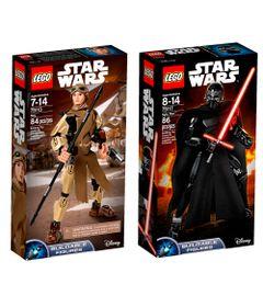 Kit-LEGO---Figuras-Articuladas---Disney---Star-Wars---75113-e-75117---Rey-e-Kylo-Ren