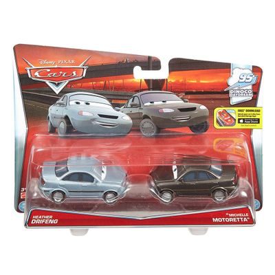 Veiculos-Hot-Wheels---Disney-Cars-2---Pack-com-2-Veiculos---Heather-Drifeng-e-Michelle-Motoretta---Mattel