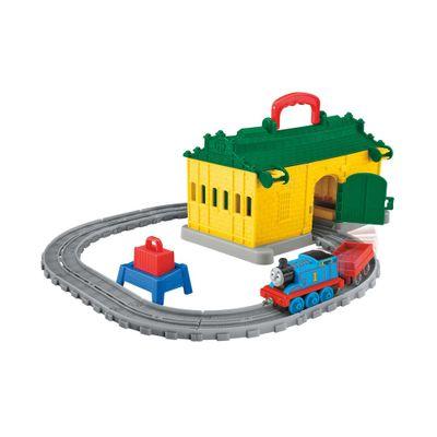 Playset---Thomas-e-Friends---Ferrovia-Portatil-com-Vagao---Galpao-Amarelo---Fisher-Price