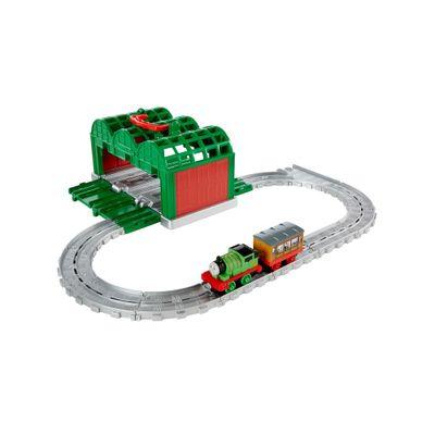 Playset---Thomas-e-Friends---Ferrovia-Portatil-com-Vagao---Galpao-Verde---Fisher-Price