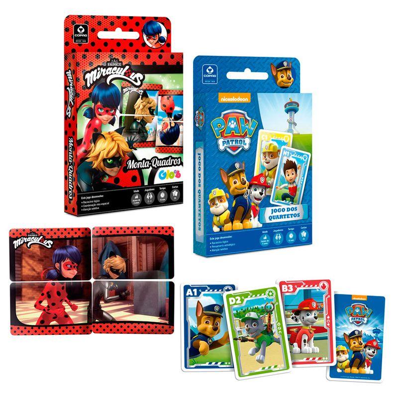 94866da434 Kit com 2 Jogos - Jogo dos Quartetos Patrulha Canina e Monta-Quadros  LadyBug - Copag - Ri Happy Brinquedos