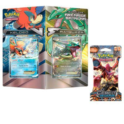 Kit-Decks-Pokemon---Arena-de-Batalha---Keldeo-Vs-Rayquaza-e-Blister-Unitario---XY11---Vulcanion---Copag