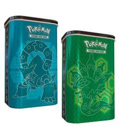 Kit-Box-Pokemon---Porta-Card-Metalico---Zygarde-e-Volcanion---Copag