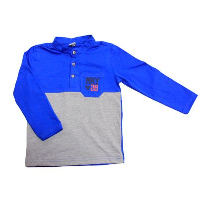 Camiseta-Manga-Longa-em-Meia-Malha---Mickey---Azul-Royal-e-Cinza-Mescla---Disney---1