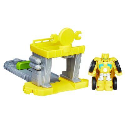 Boneco-Transformavel-com-Cenario---Transformers-Rescue-Bots---Flip-Racers---Oficina-Propulsora-do-Bumblebee----Hasbro