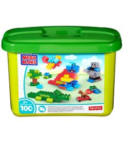 Blocos-de-Montar---Mega-Bloks---Balde-Verde---100-Pecas--Fisher-Price
